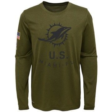 Youth Miami Dolphins Olive 2018 Salute to Service Legend Performance Long Sleeve T-Shirt